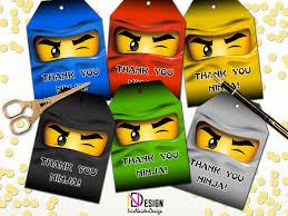 ninjago thank you tag ninjago thank you card ninjago party