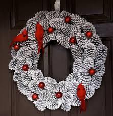 christmas wreath pine cone wreath holiday wreath bird wreath