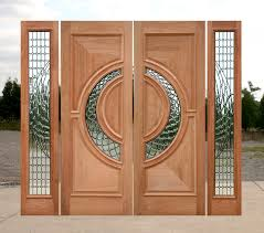 genuine mahogany contemporary double door and sidelites