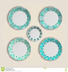 home decor plates set of plates with elegant ethnic tribal mandala ornament in boho