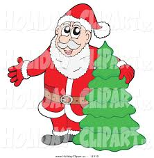 holiday clip art of santa claus presenting and standing by a