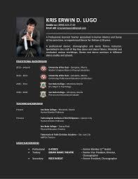 Sample Resume For Fitness Instructor by Resume For Dance Detailed Format Sample
