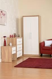 Bedroom Furniture Oak Veneer Seville Bedroom Set In Light Oak Effect Veneer White Gloss By