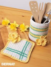 Orange Kitchen Accessories by Bernat Springtime Crochet Kitchen Accessories Crochet Pattern