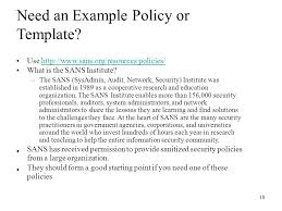 Sans Policy Templates by Cs 397 Computer Security And Information Assurance Ppt