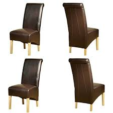 Scroll Back Leather Dining Chairs 1home Leather Dining Chairs Scroll Back Oak Legs Furniture 2 Pairs