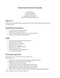 Job Description For Cashier For Resume by Example Of Cashier Resume Resume Store Create My Cover Letter Top