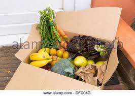organic fruit delivery organic fruit box for home delivery service stock photo royalty