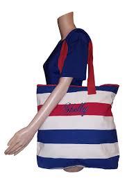 zipper top eco friendly stripe beach tote bag 17 x 16 x 4 red blue