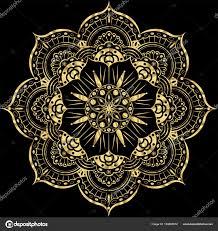 Mystic Ottoman Golden Flower Mandala Vintage Decorative Elements