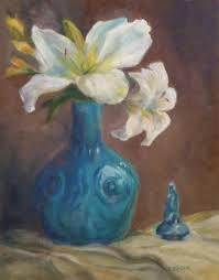 white lilies and turquoise oil painting art flowers vase