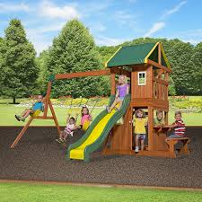 How To Build A Wooden Playset Amazon Com Backyard Discovery Oakmont All Cedar Wood Playset
