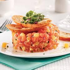 cuisine saumon tartare de saumon à l orange et chips de recettes cuisine