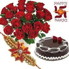 buy cute red roses n chocolate cake express rakhi gift 191 online