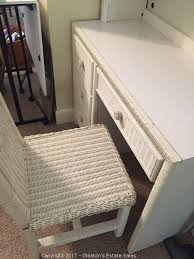 White Wicker Desk by Gleatons Estate Sales Auction Highgrove Upscale Moving Memorial
