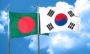 Bangladesi Flag Bangladesh Flag With South Korea Flag 3d Rendering Stock Photo