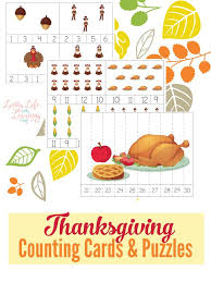 thanksgiving counting cards and puzzles skip counting