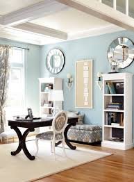 bookcases against the right wall and desk in between them chairs light blue home office ak notes love the accent colors designs mirrors above that add more light and the dark wood desk as well
