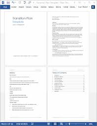 transition plan ms word template instant download