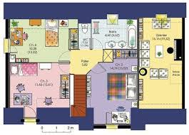 plan de maison en l avec 4 chambres maison contemporaine 2 étages 4 chambres avec cuisine séparée plan