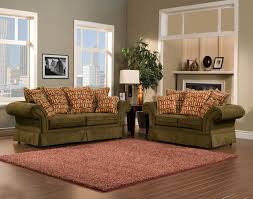 Traditional Fabric Sofas Pleasureable Olive Green Fabric Traditional Sofa With Red Cushions