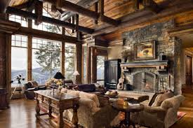 Rustic Livingroom by Exterior Design Rustic Living Room Design With Ceiling Beams And