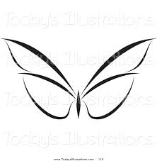 clipart of a calm black and white butterfly logo by elena 119