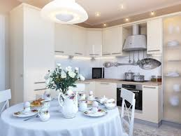 luxury white kitchen dining room with romantic ikea round table