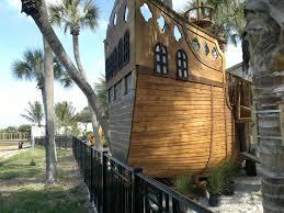 Wooden Backyard Playhouse Fun Rooms Big Pirate Ship Shaped Kids Playroom Wooden Playhouse