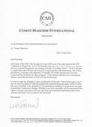 correspondence from the president comite maritime international