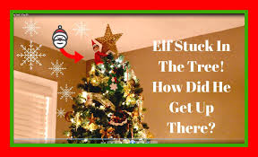 elf on the shelf stuck in the christmas tree christmas countdown