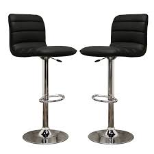 glorious two black faux leather swivel height counter modern bar
