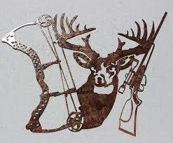 hunting decorations for home amazon com buck bow and rifle metal wall art hunting decor home