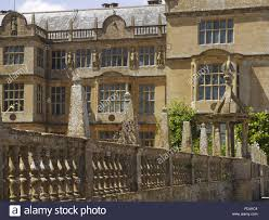 the east front seen over the balustrade at montacute house stock