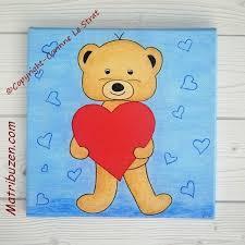 toile pour chambre bébé tableau enfant bébé nounours ourson coeur déco murale chambre d enfant