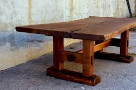 minooka dining table california claro walnut slab top with solid