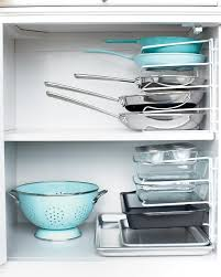 Stackable Kitchen Cabinet Organizer Stacking Pans Bakeware Cable And Walls