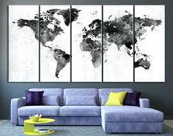 Map The World Wall Decor Black White World Map Wall Art
