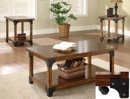 three piece table set 3 piece occasional table set in rustic oak finish by crown mark 4159