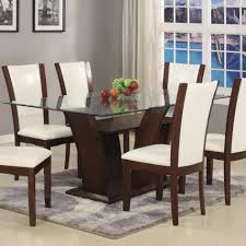 rectangular glass top dining room tables crown mark camelia white rectangular dining table with glass top