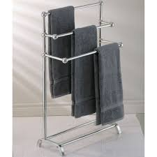 fresh free standing towel rack brushed nickel 18361
