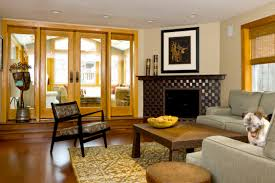 Yellow Fireplace by Living Room Simple Yellow Wooden Glass Door Drawing Room Design