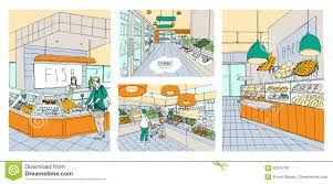 Supermarket Floor Plan by Supermarket Interior Hand Drawn Colorful Illustrations Set