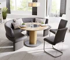 furniture grey upholstered curved bench with round table and