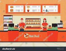 male female cashier fast food restaurant stock vector 511249120