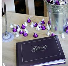 purple guest book i need to remember to get some of the purple chocolate i