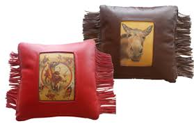 Deer Tanned Cowhide Large Pillows W Fringe Cowgirl Classics Native American Made