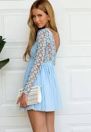 light blue long sleeve crochet tulle skater dress