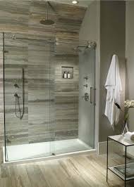 simple bathroom with fiberglass maax shower pan ideas and round