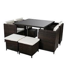 White Wicker Desk by Amazon Com Merax 9 Piece Outdoor Cube Rattan Garden Furniture
